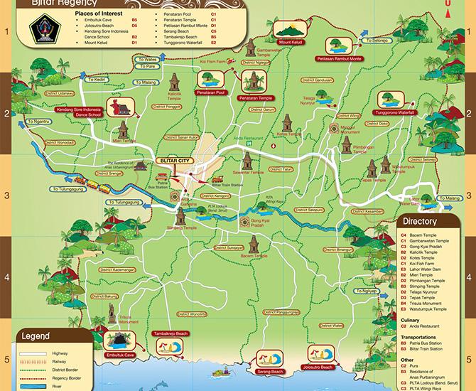 Peta wisata Blitar (IMG: purnamaserulingpenataran)